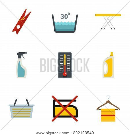 Laundry icons set. Flat style set of 9 laundry vector icons for web design