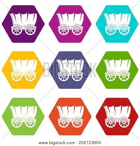Ancient western covered wagon icon set many color hexahedron isolated on white vector illustration