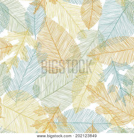 Beautiful seamless doodle pattern with leaves sketch. design background greeting cards and invitations to the wedding birthday mother s day and other seasonal autumn holidays