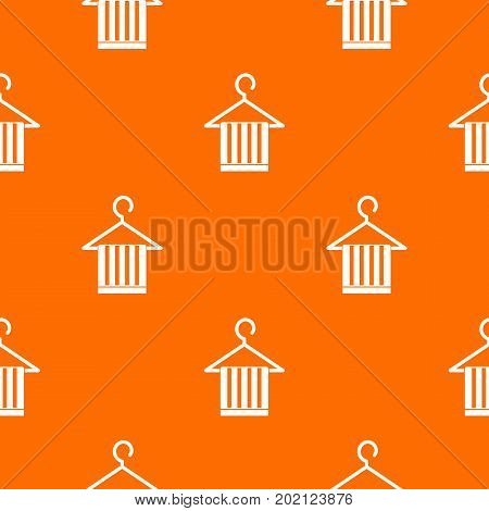 Scarf on a coat hanger pattern repeat seamless in orange color for any design. Vector geometric illustration