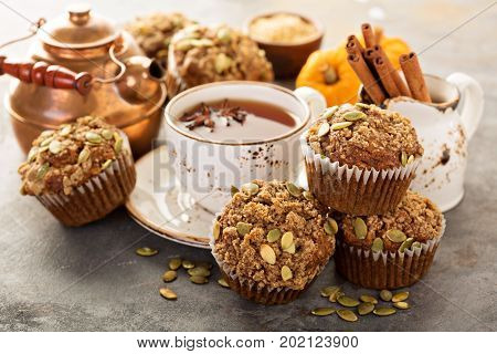Healthy pumpkin muffins with fall spices and pumpkin seeds