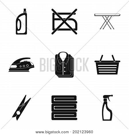 Laundry icons set. Simple style set of 9 laundry vector icons for web design