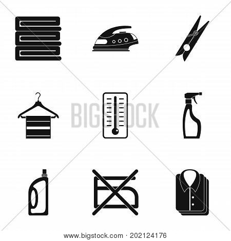 Dry cleaning icons set. Simple style set of 9 dry cleaning vector icons for web design
