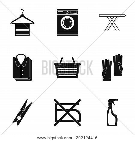 Wash icons set. Simple style set of 9 wash vector icons for web design