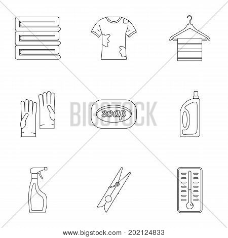 Laundry icons set. Outline style set of 9 laundry vector icons for web design