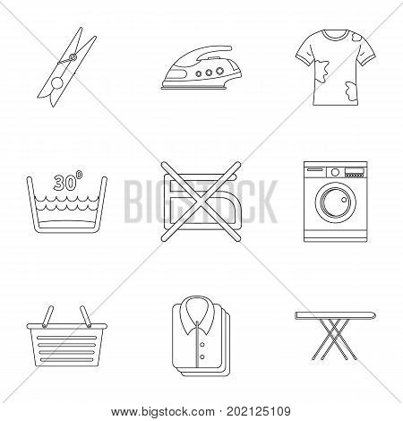 Dry cleaning icons set. Outline style set of 9 dry cleaning vector icons for web design
