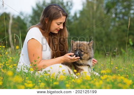 Portrait Of A Young Woman With An Elo Puppy