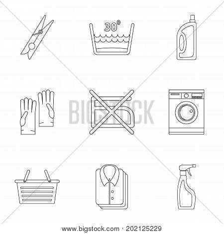 Wash icons set. Outline style set of 9 wash vector icons for web design
