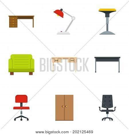 Comfort furniture icons set. Flat style set of 9 comfort furniture vector icons for web design