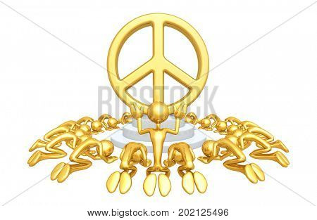 A Group Of The Original 3D Characters Illustration Worshiping A Peace Symbol