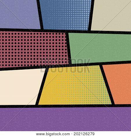 Pop art comics book magazine cover template. Cartoon funny vintage strip mock up. Vector halftone illustration. Blank rectangle for comic superhero text speech bubble message. Humor graphic.