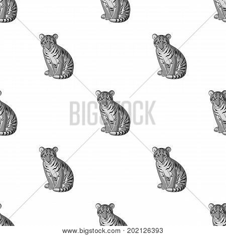 Young tiger.Animals single icon in monochrome style vector symbol stock illustration .