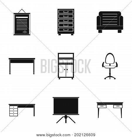 Comfort furniture icons set. Simple style set of 9 comfort furniture vector icons for web design