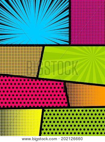 Blank rectangle for comic superhero text speech bubble message. Humor graphic. Pop art comics book magazine cover template. Cartoon funny vintage strip mock up. Vector halftone illustration.