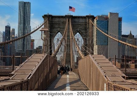 Brooklyn bridge in New York is one of the oldest bridges of either type in the United States. Completed in 1883.