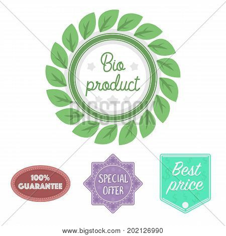 Special offer, best prise, guarantee, bio product.Label, set collection icons in cartoon style vector symbol stock illustration .