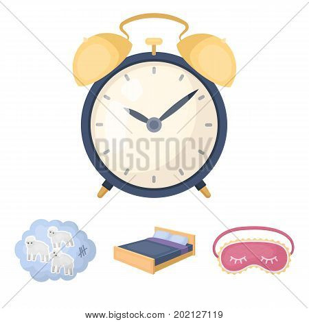 A bed, a blindfold, counting rams, an alarm clock. Rest and sleep set collection icons in cartoon style vector symbol stock illustration .