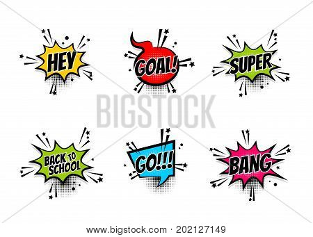 Lettering back school go goal football super hey. Set comics book balloon. Bubble speech phrase. Cartoon exclusive font label tag expression. Comic text sound effects. Sounds vector illustration.