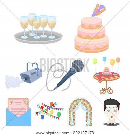 Event service set icons in cartoon design. Big collection of event service vector symbol stock illustration