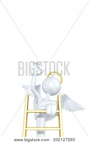 The Original 3D Character Angel Illustration Climbing A Ladder