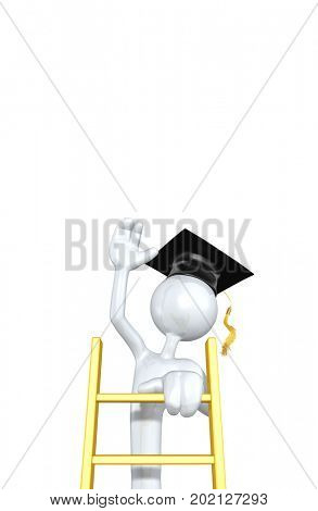 The Original 3D Character Graduate Illustration Climbing A Ladder