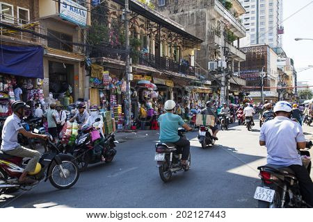 Ho Chi Minh City, Vietnam - March 26, 2017: City life in Binh Tay Market, the Central Market of Cholon. Cholon is the Chinatown area of Saigon