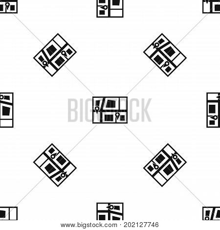 Geo location of taxi pattern repeat seamless in black color for any design. Vector geometric illustration