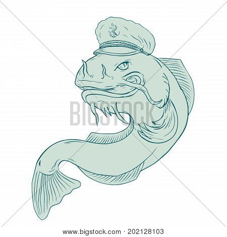 Drawing sketch style illustration of a catfish wearing sea captain hat cap on isolated background.