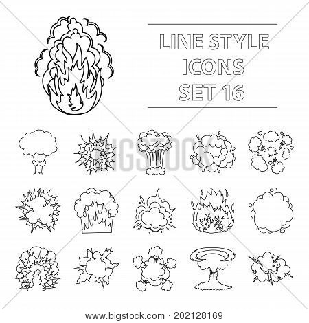 Explosions set icons in outline design. Big collection of explosions vector symbol stock illustration