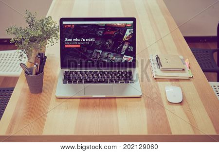 Bangkok Thailand - August 31, 2017 : Netflix app on Laptop screen. Netflix is an international leading subscription service for watching TV episodes and movies.