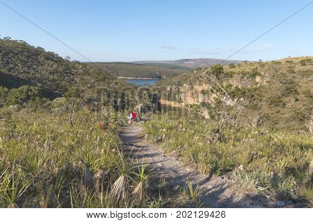 Furnas Dam in Minas Gerais Brazil Jul 11th 2017. Couple of tourists walking to the Canyons area in Capitolio MG Brazil