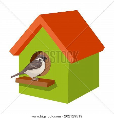 Birdhouse, single icon in cartoon style.Birdhouse, vector symbol stock illustration .