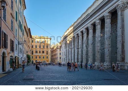 ROME,ITALY - JULY 16,2017 : Piazza de Petra and the Hadrian Temple or Hadrianeum in Central Rome