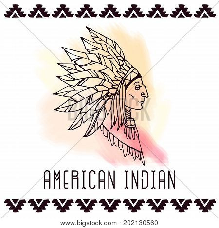 American indian in war bonnets. Lineart vector illustration.