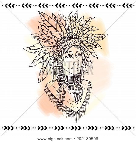 American indian in headdresses. Lineart vector illustration.
