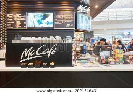 HONG KONG - CIRCA JANUARY, 2016: McCafe at Hong Kong International airport. McCafe is a coffee-house-style food and beverage chain, owned by McDonald's.