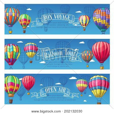 Hot air balloon Bon Voyage or open air festival banners set. Vector design of cloudhopper in zigzag, checkered and stripe pattern sketch design for travel tour or tourism agency and entertainment show