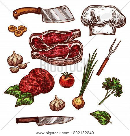 Butchery fresh meat and seasonings or cutlery icons for restaurant. Vector isolated set of chef hat and butcher hatchet knife, beef steak tenderloin or pork brisket, garlic and oregano or rosemary