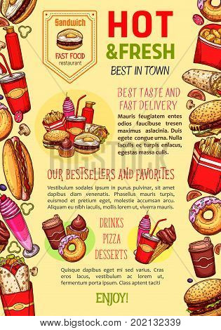 Fast food poster template for restaurant of burger, pizza and hot dog, fastfood combo sandwich and soda or coffee drink, ice cream and donut cake dessert or chicken wings and french fries snack