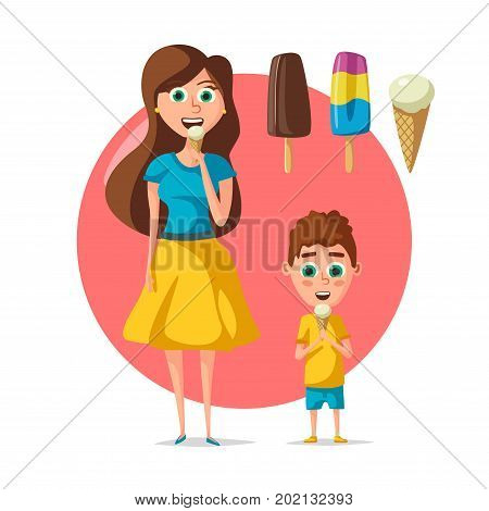 Mother and son boy eating ice cream. Vector flat woman and kid with frozen summer desserts of ice cream scoops in wafer cone, chocolate glaze sundae and eskimo gelato or fruit sorbet for cafeteria