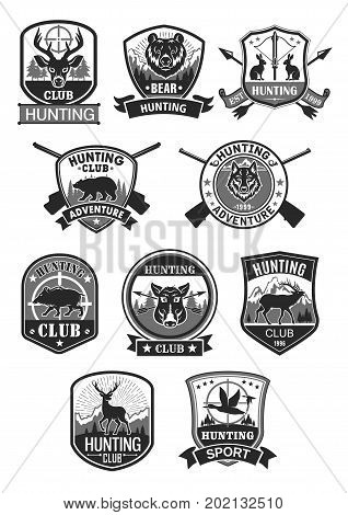 Hunting club icons se for hunter open season adventure Vector badges of wild animals elk, forest deer or reindeer and grizzly bear, wolf and aper or boar, ducks and hare with riffle guns and crossbows
