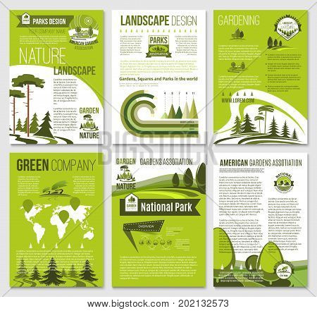 Eco environment and green nature landscape company brochure or posters templates. Vector set of ecology trees forest, gardens or parklands squares and eco woodlands for planting or urban horticulture