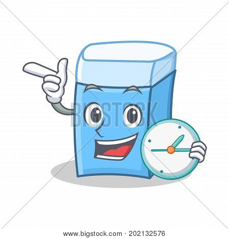 With clock eraser character mascot style vector illustration