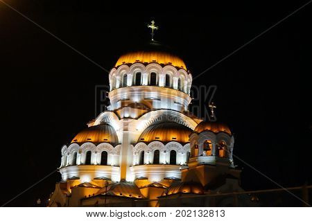 Christian temple at night in the Olympic Park of Sochi. March 2017.