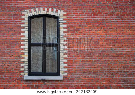 window wall residential window vintage white curtain red brick old architecture