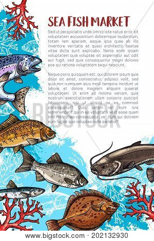 Sea fish fresh food poster for seafood market or shop. Vector fisherman big fishes catch of pike, herring or trout and sprat, flounder or mackerel and crucian, salmon or tuna and marlin or navaga