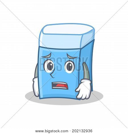 Afraid eraser character mascot style vector illustration