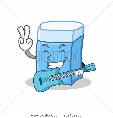 With guitar eraser character mascot style vector illustration