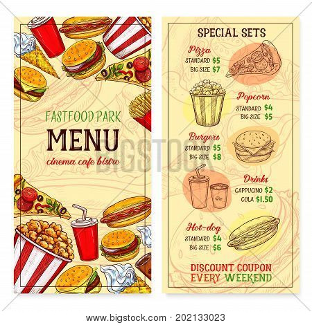 Fast food menu template with fastfood pizza, popcorn or burger and hot dog. Vector set of coffee or soda drink, french fries and chicken grill snack, donut and ice cream desserts for cinema bistro