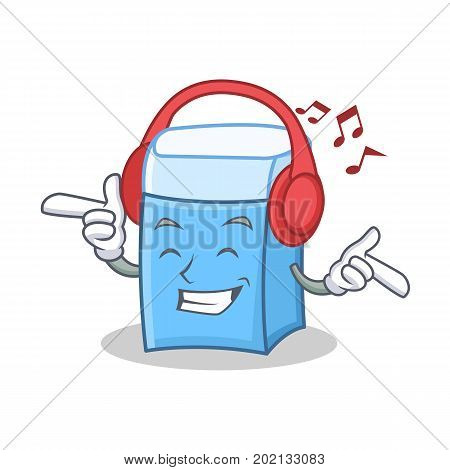 Listening music eraser character mascot style vector illustration